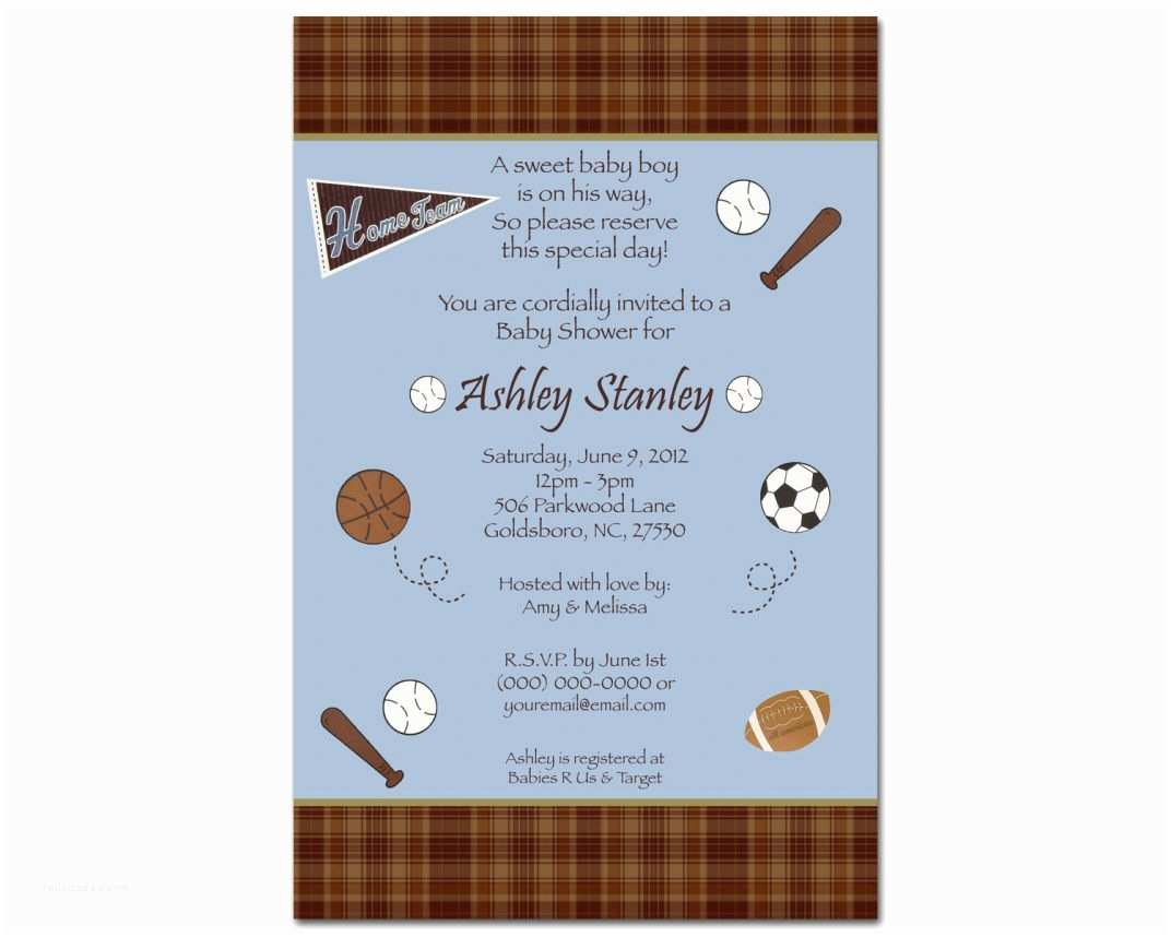 Sports themed Baby Shower Invites theme Sports themed Baby Shower Invitation Sports themed