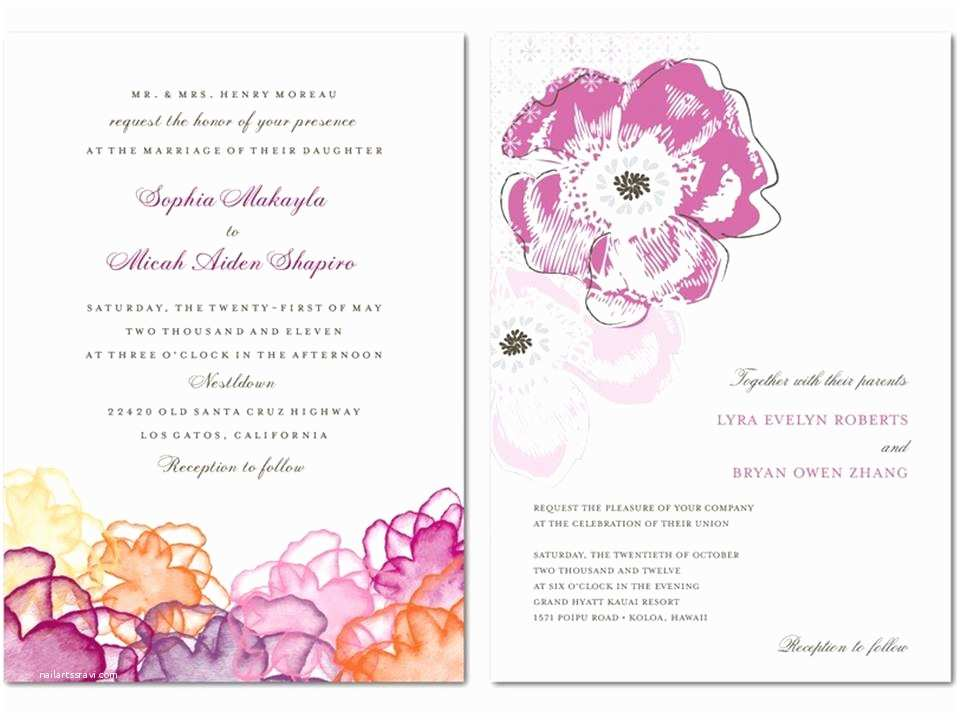 Spring Wedding Invitations Purple Coral and Peach Spring or Summer Wedding