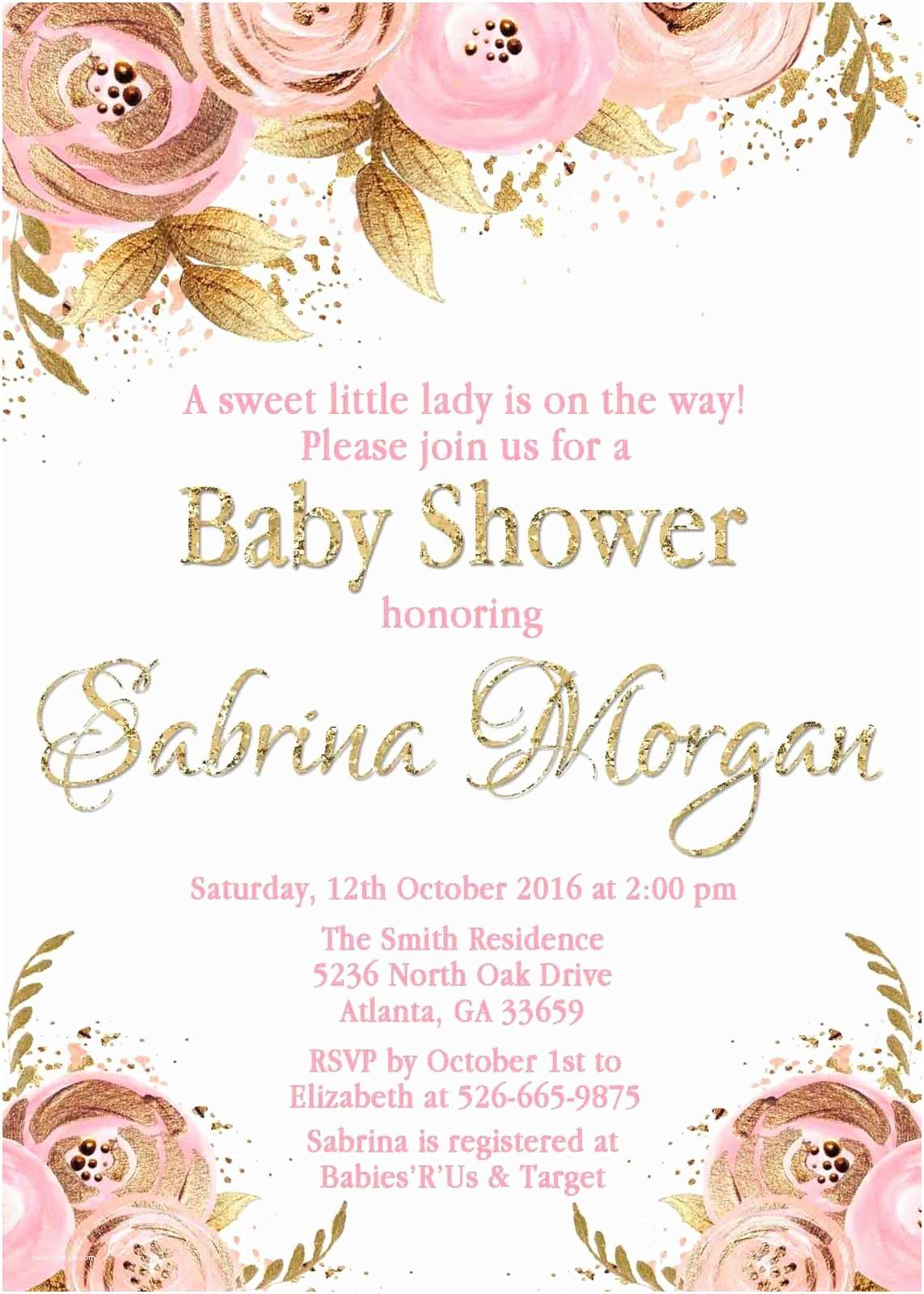Sprinkle Baby Shower Invitations Floral Pink Gold Baby Shower Invitation Personalized