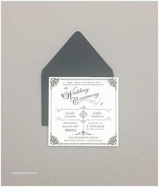 Square Wedding Invitations ornate Vintage Type Square Wedding Invitation