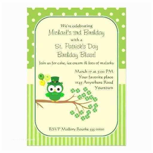 St Patricks Day Party Invitations St Patrick S Day Boy S Birthday Owl Invitation Card