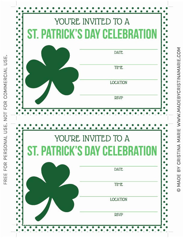 St Patricks Day Party Invitations St Patrick S Day Party Printables Free