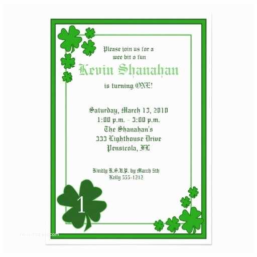 """St Patricks Day Party Invitations St Patrick S Day Shamrock Birthday Invitation 5x7 5"""" X 7"""