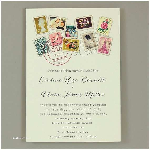 Stamps for Wedding Invitations World Stamps Wedding Invitation Multiculturally Wed