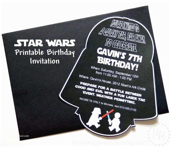 Star Wars Birthday Invitations Star Wars Darth Vader Printable Birthday Invitation