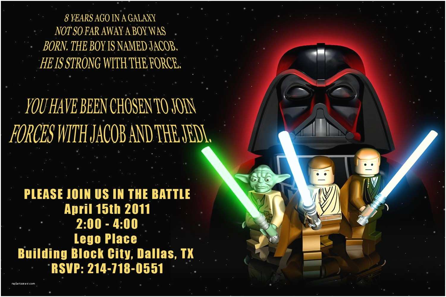 Star Wars Birthday Party Invitations Birthday Invites Anime and Lego Star Wars Party