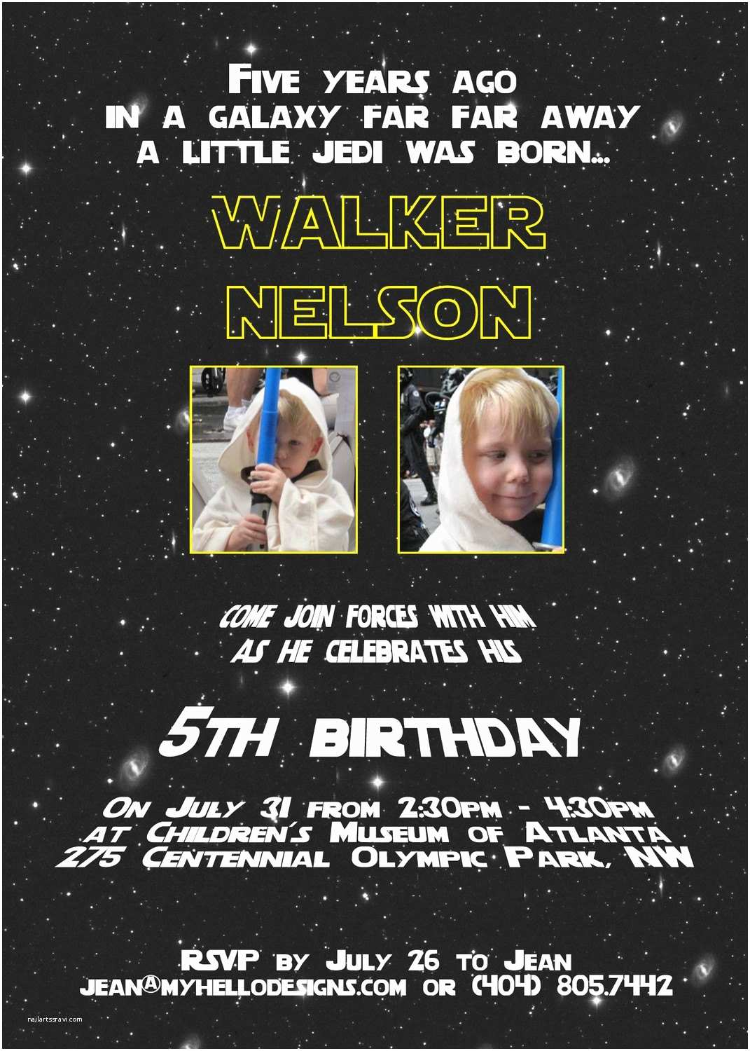 Star Wars Birthday Party Invitations Printable Star Wars Inspired Invitation Jedi by Myhellodesigns