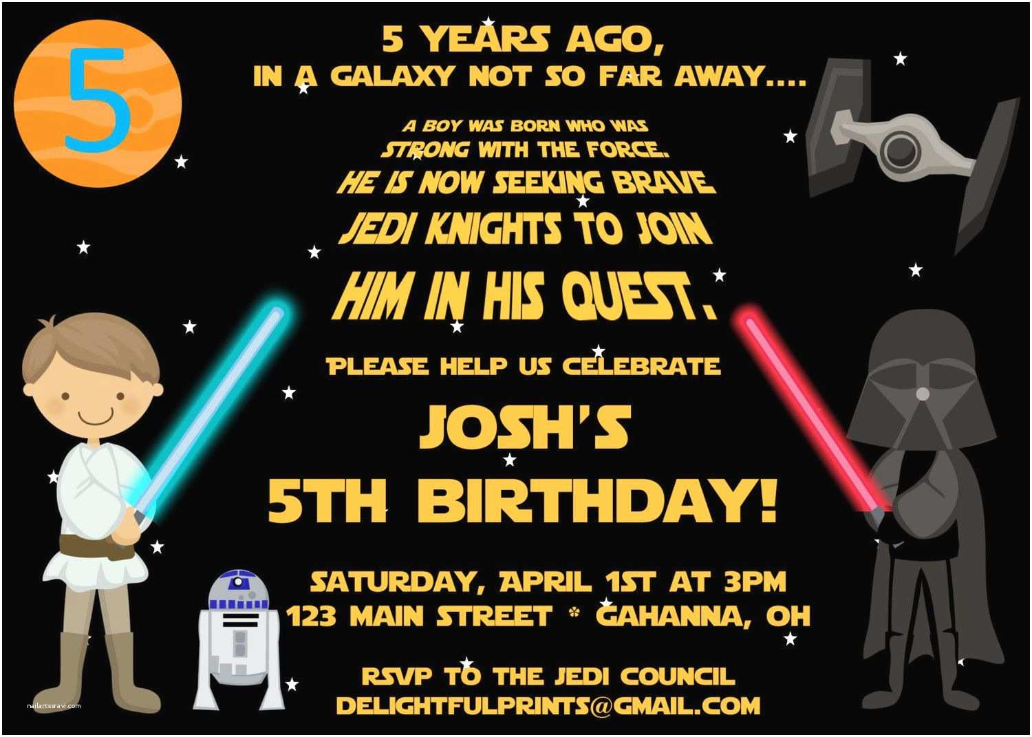 Star Wars Birthday Party Invitations Star Wars Scroll Inspired Birthday Invitation Many Colors