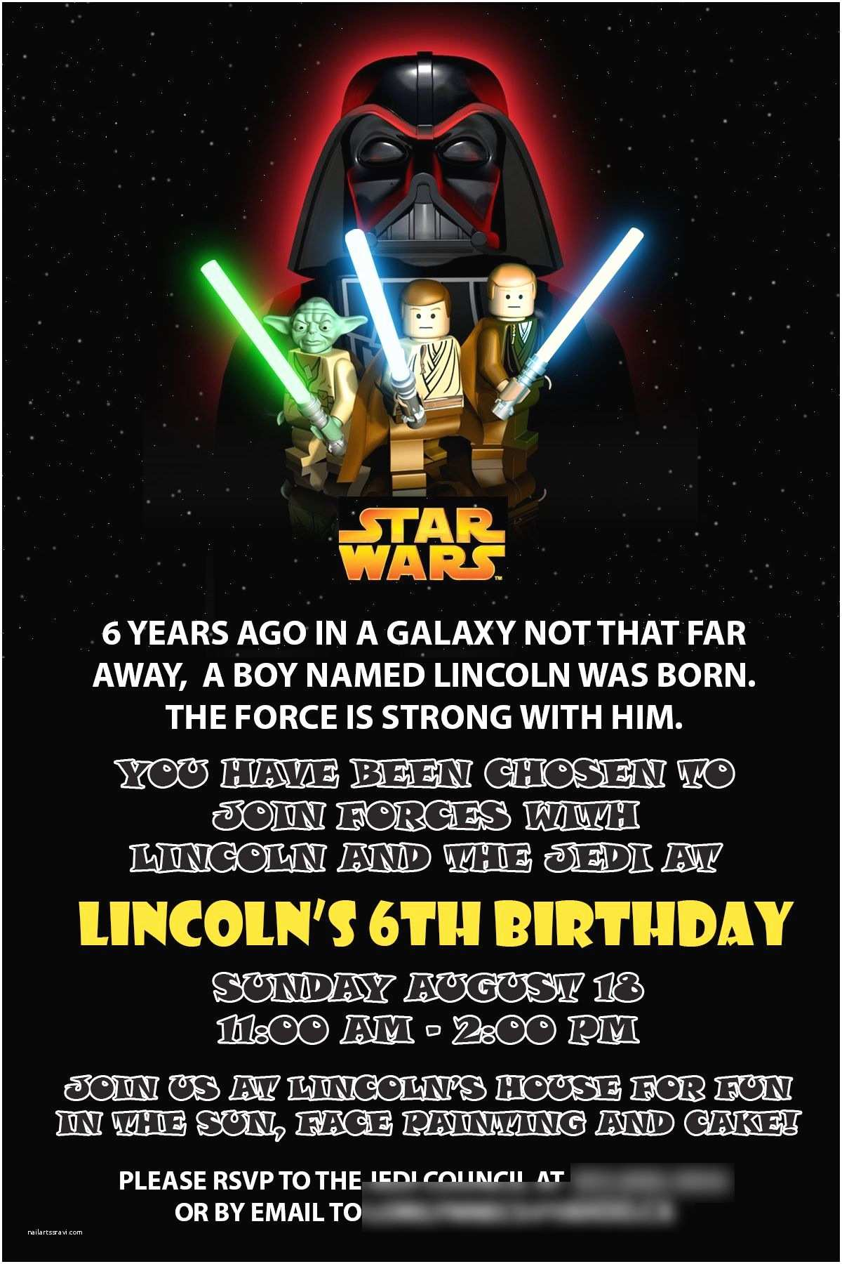 Star Wars Birthday Party Invitations Starwars Birthday Invitation Birthdays