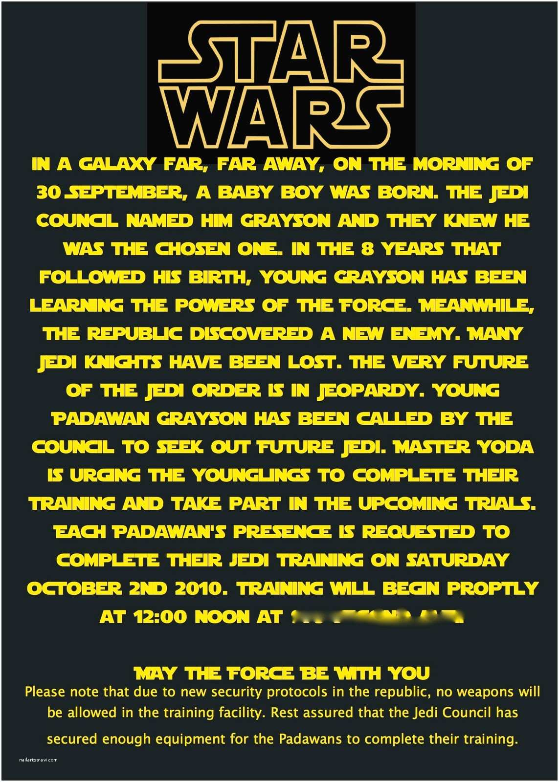 Star Wars Party Invitations at Second Street Star Wars Party What I Did