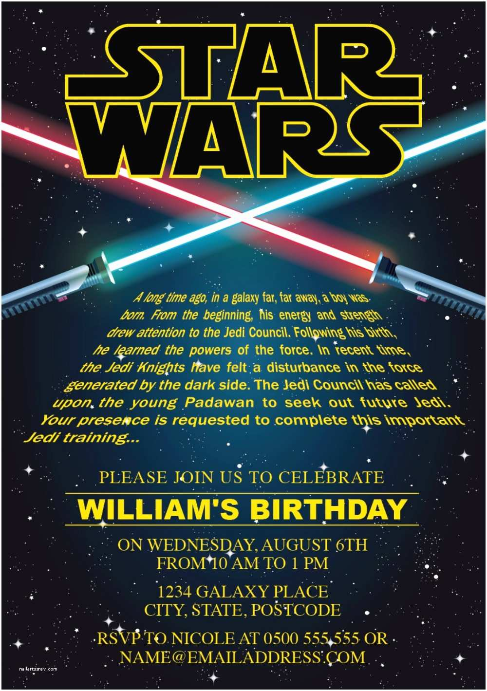 Star Wars Party Invitations Star Wars Party Invitation