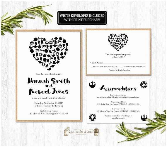 Star Wars themed Wedding Invitations Star Wars Wedding Invitation Printable Set Suite Rsvp Card