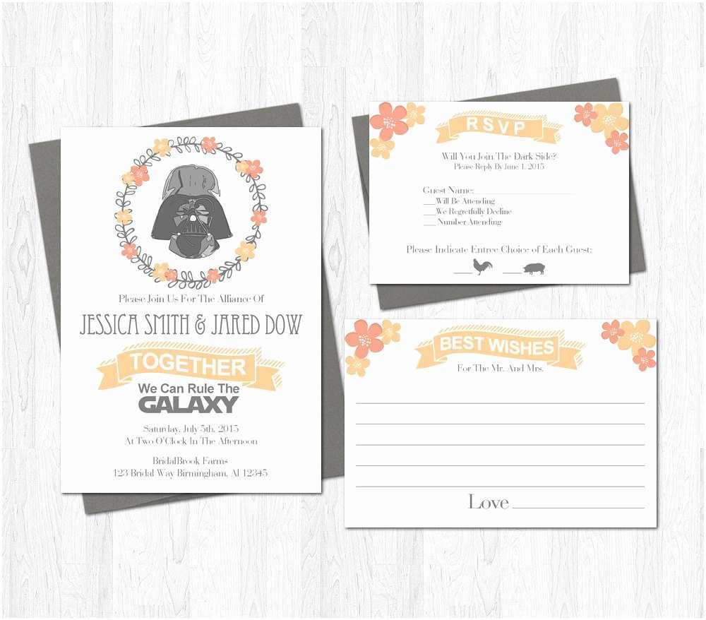 Star Wars Wedding Invitations Star Wars Wedding Invitation Set Suite Printable Darth Vader