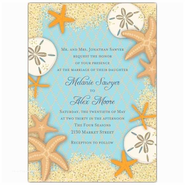 Starfish Wedding Invitations Sand Dollars and Starfish Wedding Invitations