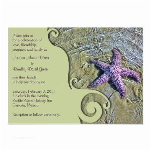 "Starfish Wedding Invitations Starfish Destination or Beach Wedding Invitation 5"" X 7"
