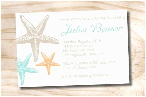 Starfish Wedding Invitations Starfish Elegance Bridal Shower Baby Shower Destination
