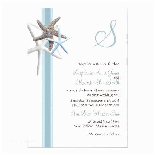 Starfish Wedding Invitations Starfish Gathering Monogrammed Wedding Invitations