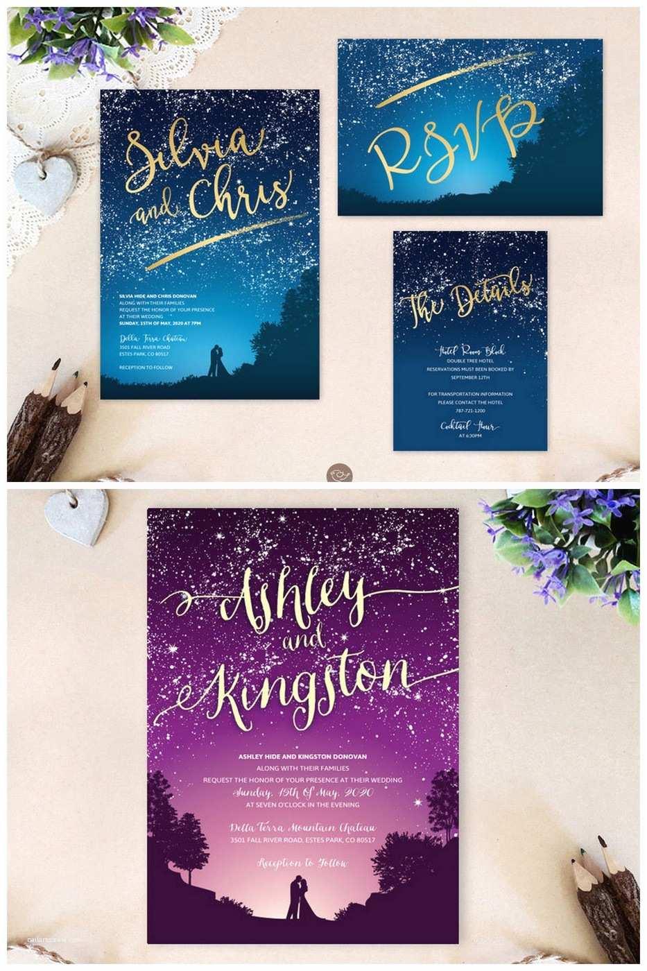 Starry Night Wedding Invitations 16 Starry Night Celestial Wedding Invitations to Light Up