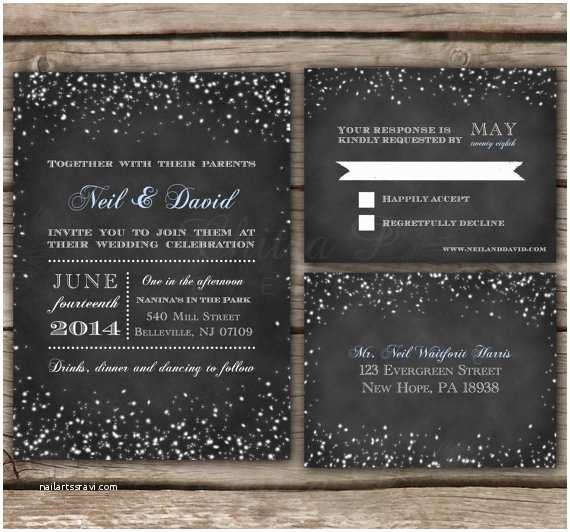Starry Night Wedding Invitations Items Similar to Starry Night Chalkboard Wedding