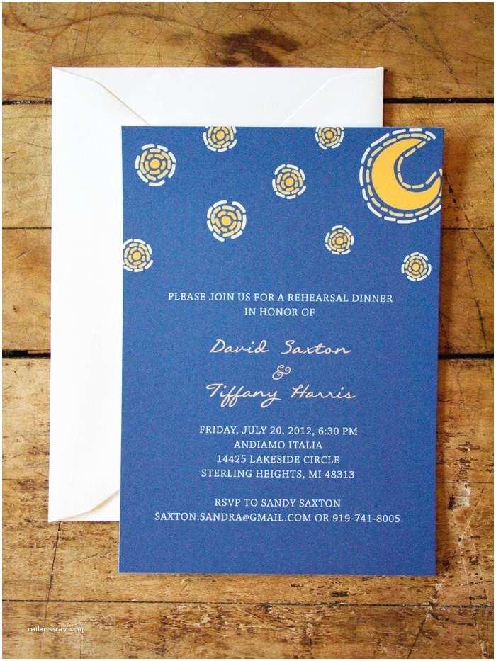 Starry Night Wedding Invitations Items Similar to Starry Night Wedding Invitation On Etsy