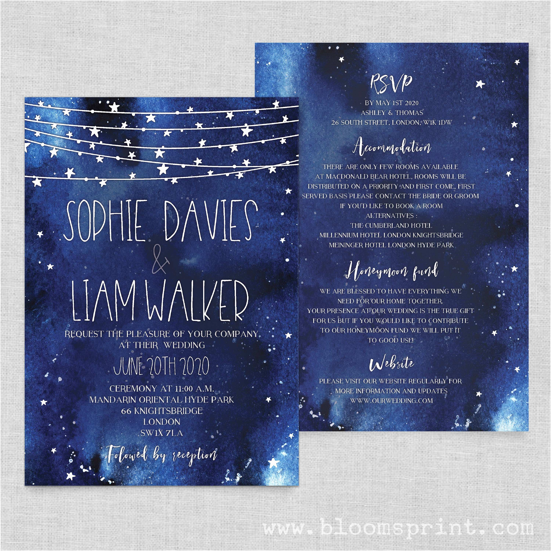 Starry Night Wedding Invitations Navy Blue Wedding Invites Starry Night Wedding