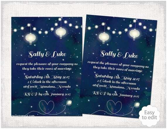 Starry Night Wedding Invitations Printable Wedding Invitation Template Starry Night