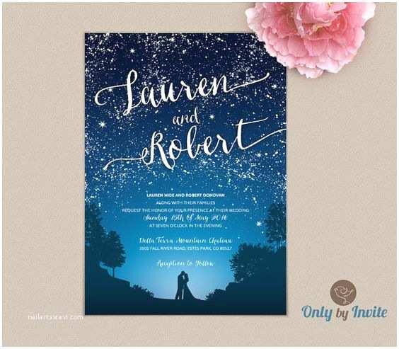 Starry Night Wedding Invitations Starry Night Wedding Invitation and Wishing Well Card