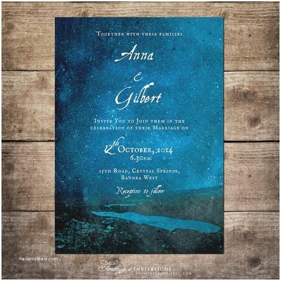 Starry Night Wedding Invitations Starry Night Wedding Invitation Blue Wedding by
