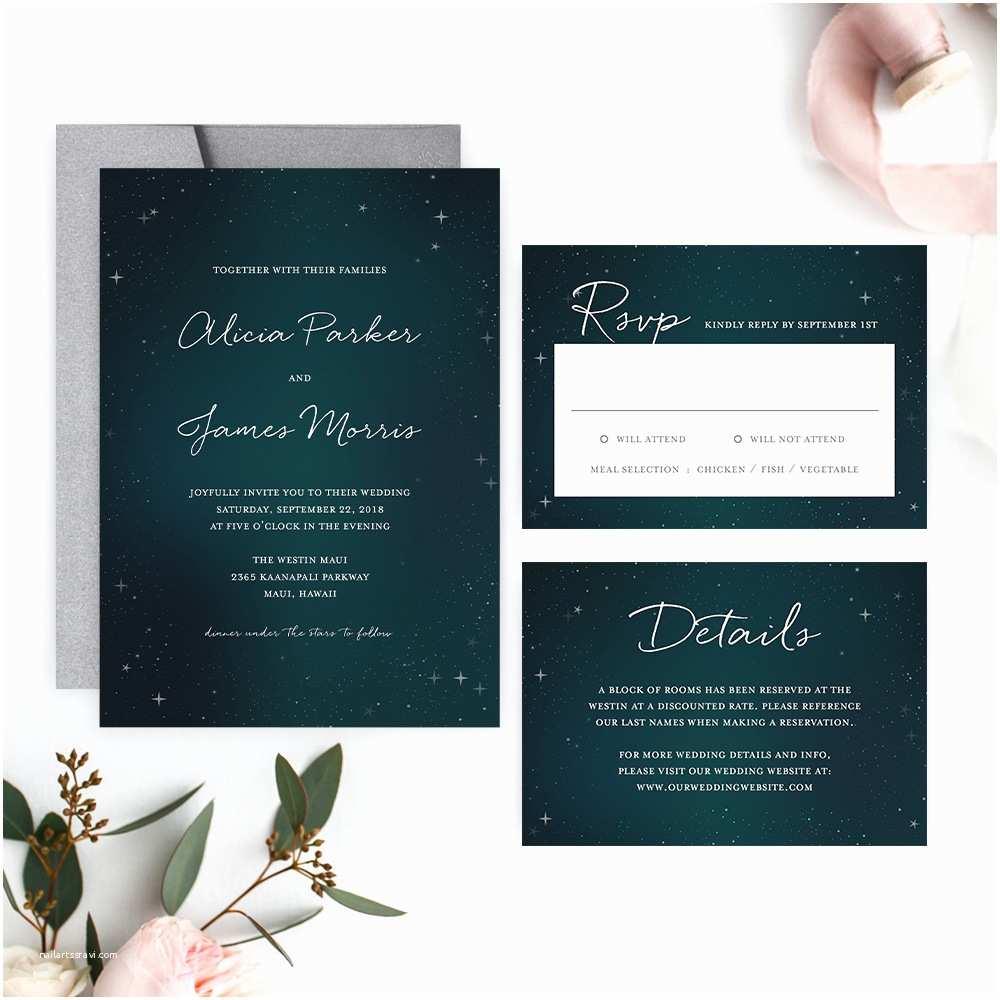 Starry Night Wedding Invitations Starry Night Wedding Invitation – Printable