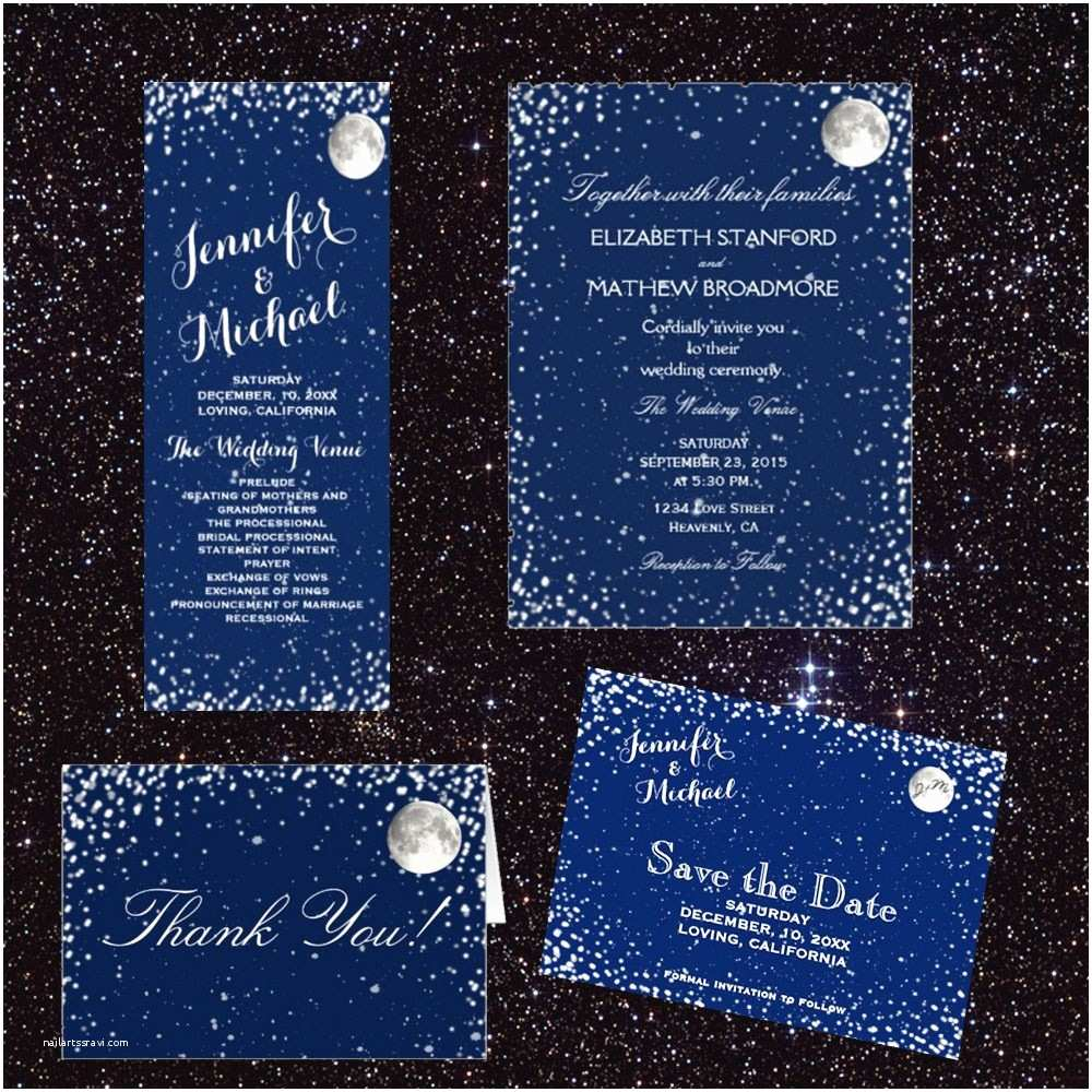 Starry Night Wedding Invitations Starry Night Wedding Invitation Set – Rustic Country Wedding