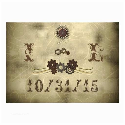 Steampunk Wedding Invitations Elegant Gears Steampunk Wedding Invitations