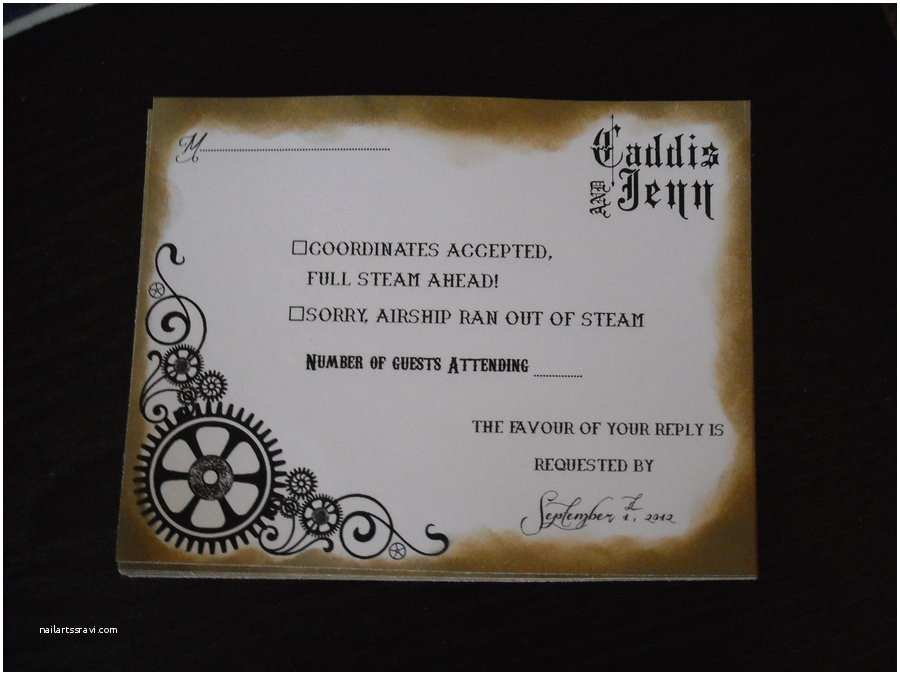 Steampunk Wedding Invitations Gothic Steampunk Wedding Invitations by Jennjennkitty On