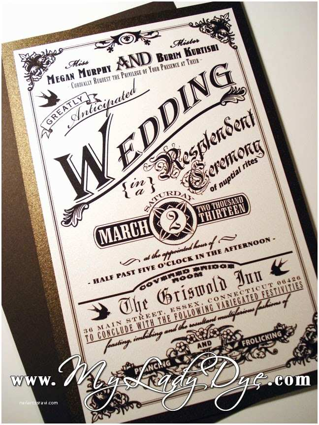 Steampunk Wedding Invitations My Lady Dye Handcrafted Stationery A Steampunk Wedding