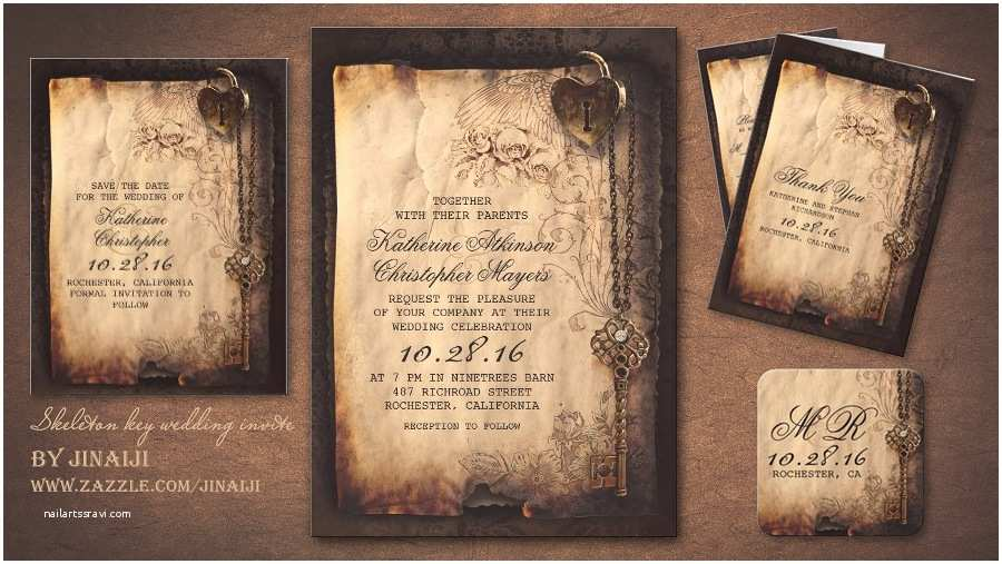 Steampunk Wedding Invitations Read More – Skeleton Key & Heart Lock Vintage Wedding