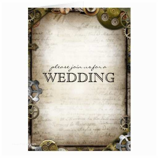 Steampunk Wedding Invitations Steampunk Gears Wedding Invitation Greeting Cards