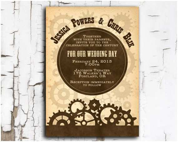 Steampunk Wedding Invitations Steampunk Invitation Printable Diy for Wedding event