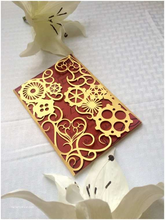 Steampunk Wedding Invitations Steampunk Laser Cut Wedding Invitation Gears by