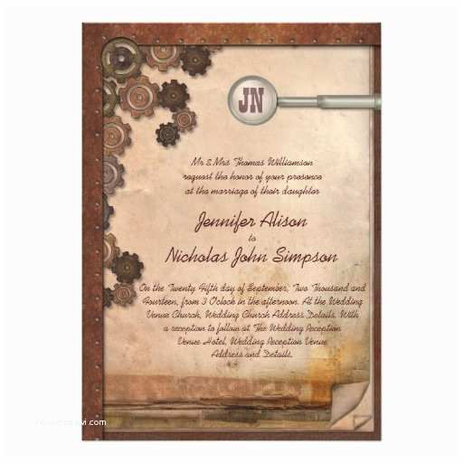Steampunk Wedding Invitations Steampunk Mechanical Writing Set Wedding Invites