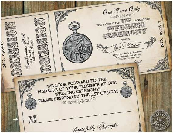 Steampunk Wedding Invitations Steampunk Printable Ticket Wedding Invitation and Rsvp