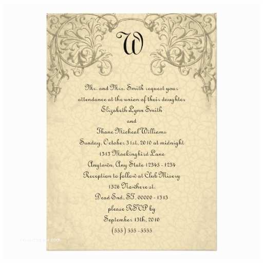 "Steampunk Wedding Invitations Steampunk Scroll Monogram Wedding Invitation 5"" X 7"