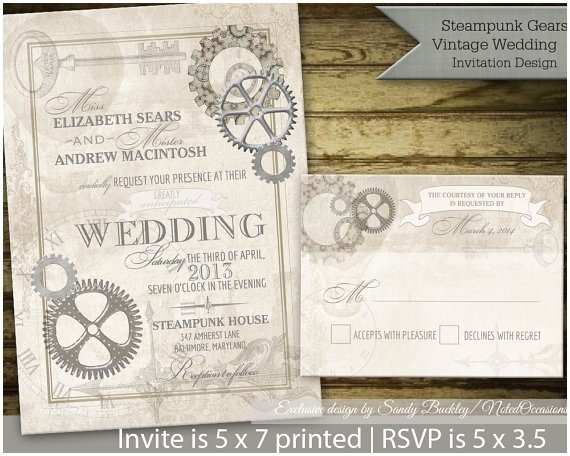 Steampunk Wedding Invitations Steampunk Vintage Steampunk Wedding Invitation by