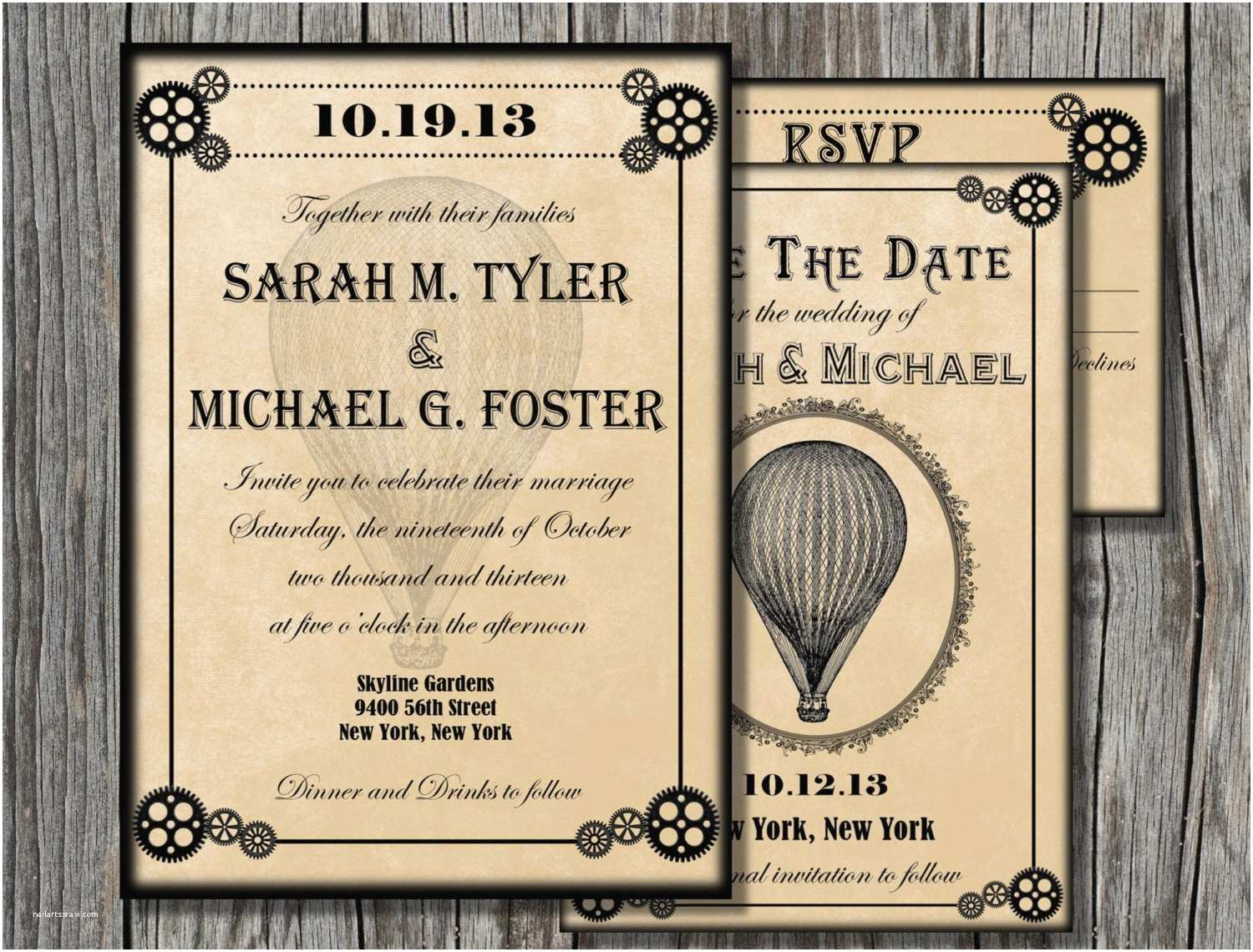 Steampunk Wedding Invitations Steampunk Wedding Invitation Bundle Save the Date by
