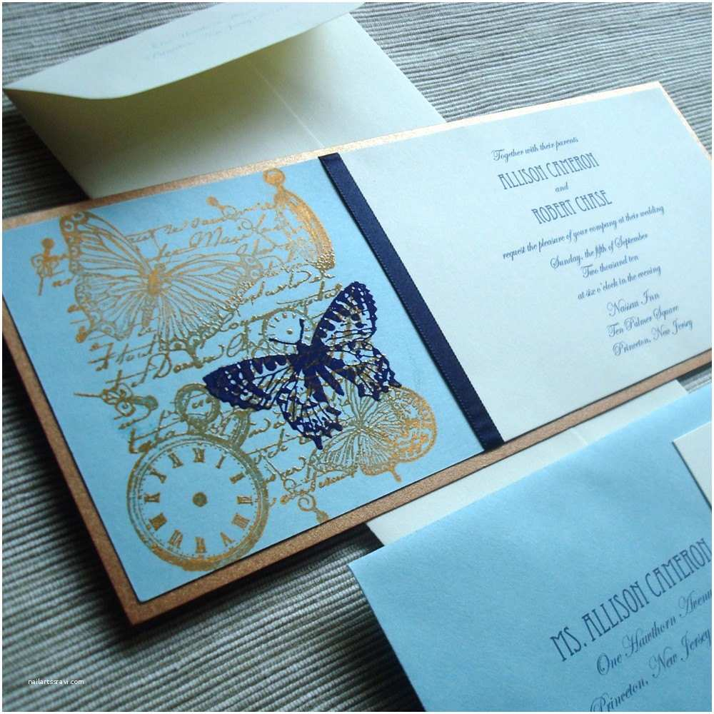 Steampunk Wedding Invitations Steampunk Wedding Invitation Ensemble with butterfly Motif