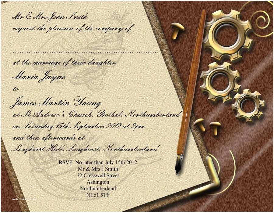 Steampunk Wedding Invitations Steampunk Wedding Invitation Front by Graphicembers On