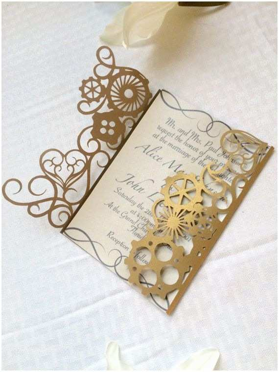 Steampunk Wedding Invitations Steampunk Wedding Invitation Gears and by