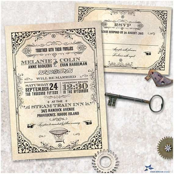 Steampunk Wedding Invitations Steampunk Wedding Stationery Set Invitation and Reply Card