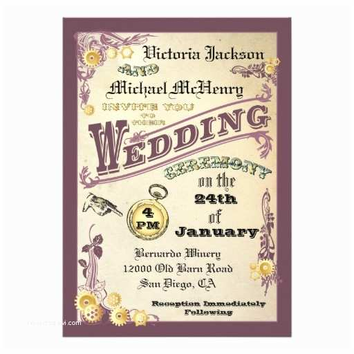 "Steampunk Wedding Invitations Victorian Steampunk Wedding Invitations 5"" X 7"" Invitation"