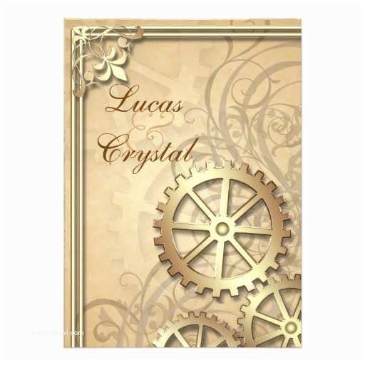 Steampunk Wedding Invitations Vintage Gold Gears Steampunk Wedding Invitation