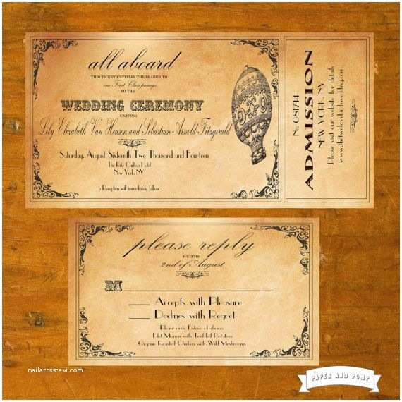 Steampunk Wedding Invitations Vintage Hot Air Balloon Ticket Invitation Steampunk