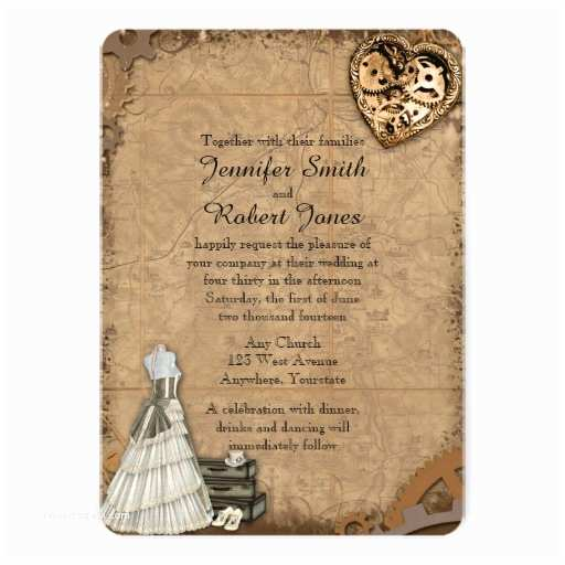 Steampunk Wedding Invitations Vintage Steampunk Bride Wedding Invitation